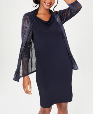 9863df92d Connected Petite Drape-Neck Dress & Metallic Jacket in 2019 | Products
