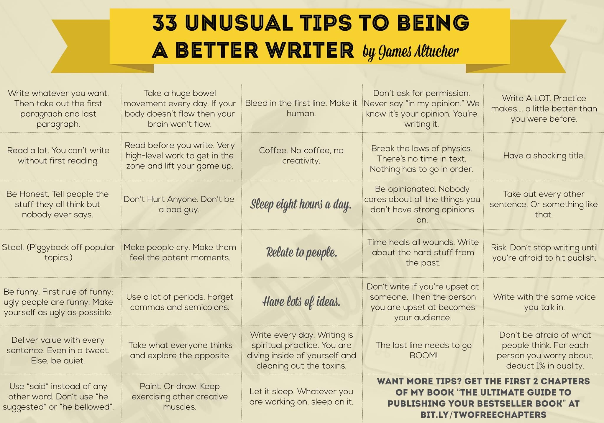 12 Unusual Tips To Being A Better Writer creativity creative jobs