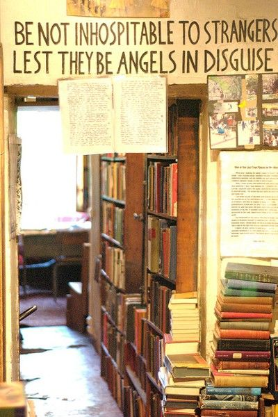 The cluttered, cozy interior of Shakespeare and Company