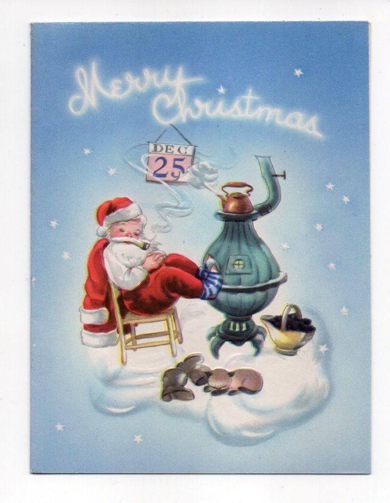 Vintage Artistic Christmas Greeting Card Tuckered Out Santa Pot