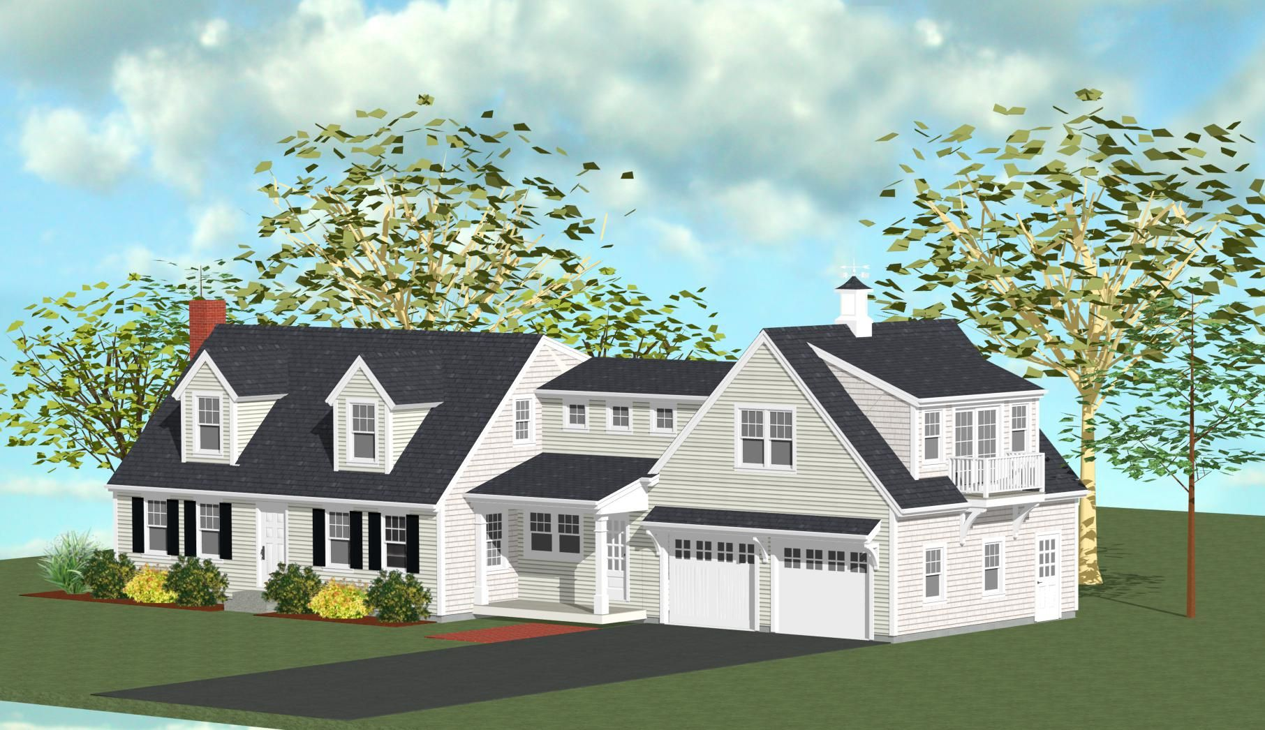 What a perfect addition to this classic cape style home at for Additions to cape cod style homes