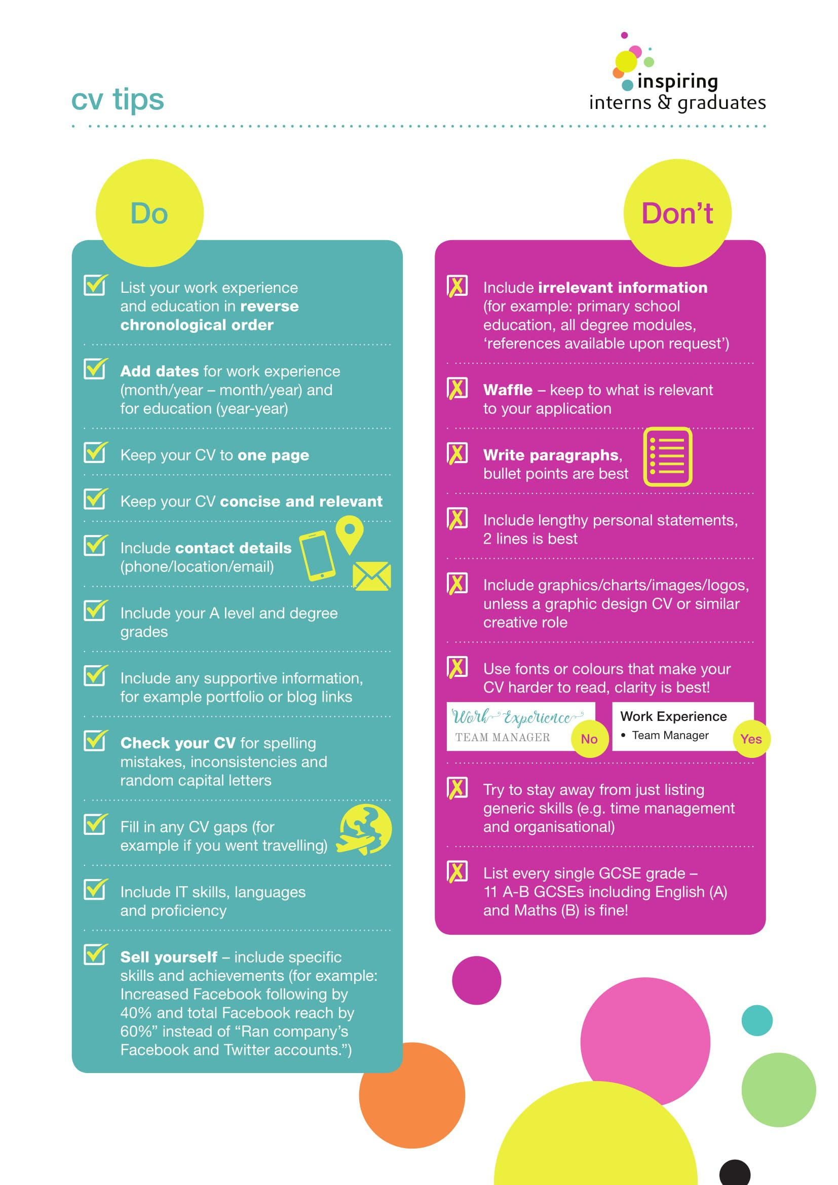 Cv dos and donts career infographic education