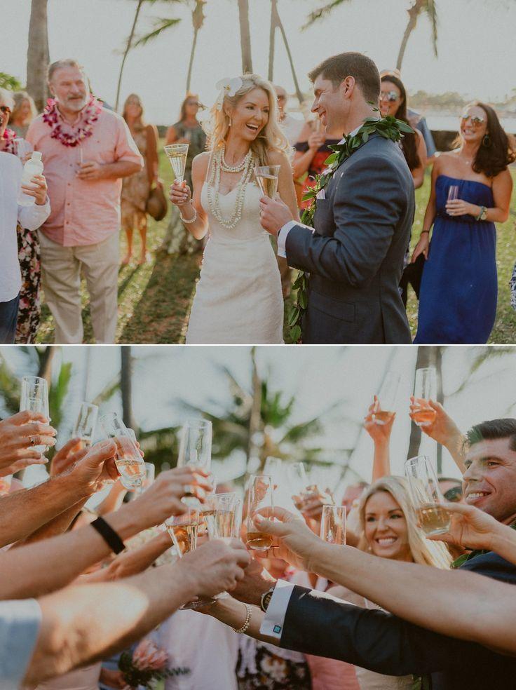 Kissing in Kailua Kona Big island wedding, Hawaii