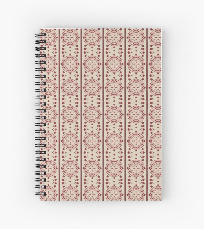 My Secrets Pink Vintage Key Pattern Design 208 Spiral Notebook By Annartlab