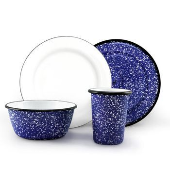 Commercial · Enamel Graniteware Dinnerware Set ...  sc 1 st  Pinterest & Enamel Graniteware Dinnerware Set 760-Cobalt with White | Country ...