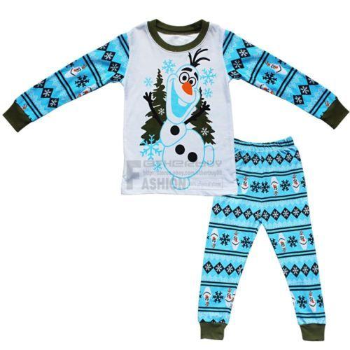 2PCS-Boys-Girls-Kids-Suit-Sleepwear-Frozen-Olaf-Top-Pants-Homewear-Pajama-Sets