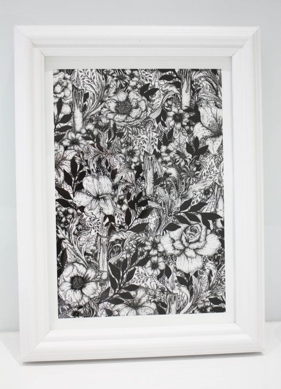 Giclee print gothic floral print victorian by paintedwitchdesigns