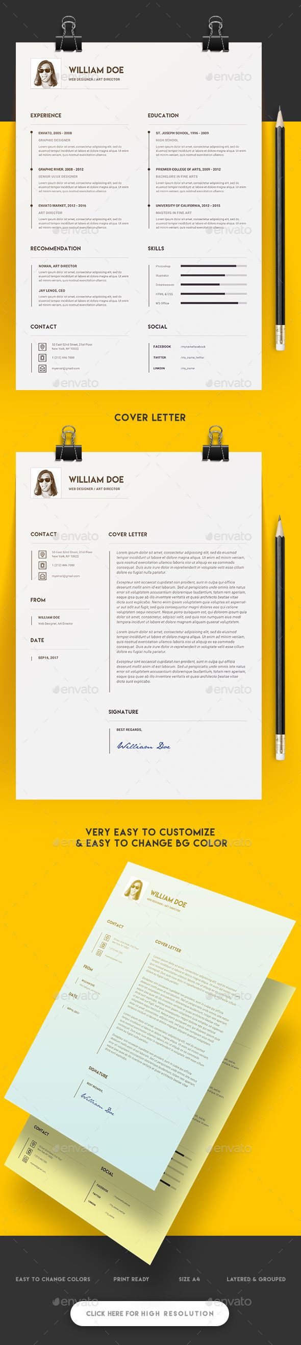 Minimal and Clean Resume  — PSD Template #swiss #elegant-design • Download ➝ https://graphicriver.net/item/minimal-and-clean-resume/18102784?ref=pxcr