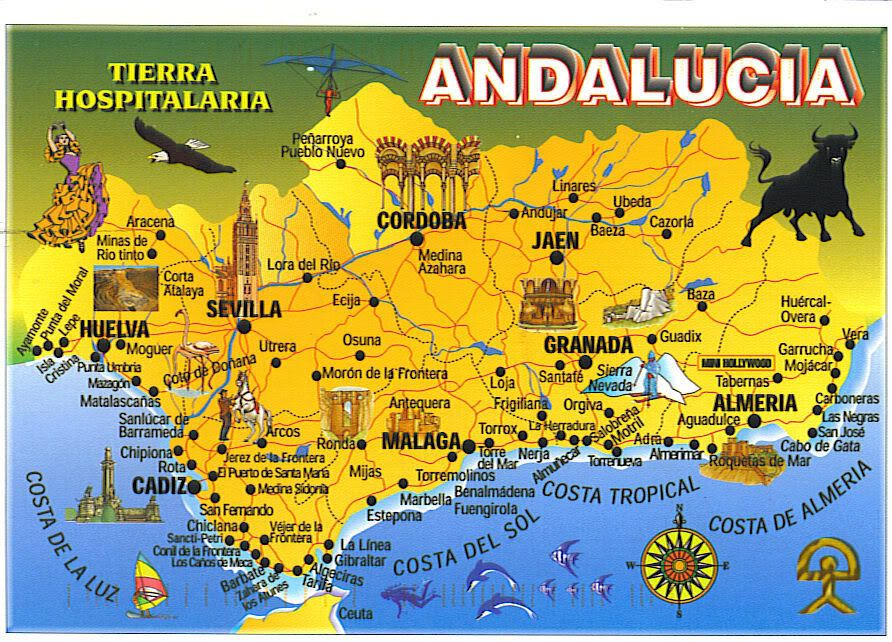 andulusian spain Spain Andalucia Picture By Map Postcard