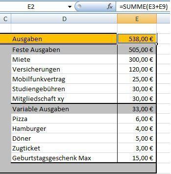 Budgetplaner mit Excel erstellen | sparen | Pinterest | Ausgaben ...