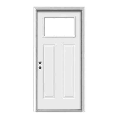 404 36 In X 80 In Craftsman 1 Lite Primed Premium Steel Prehung Front Door With Brickmould Steel Entry Doors Steel Front Door Steel Doors