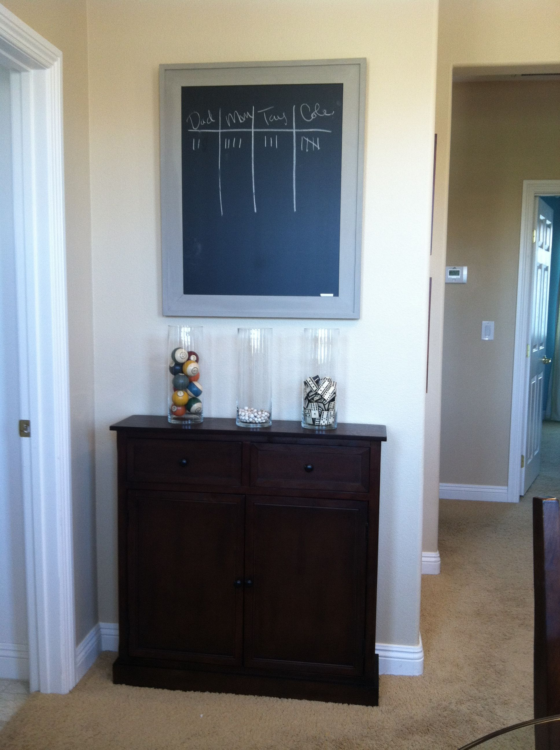 Game room chalkboard to keep score! Purchased from home goods  Paint