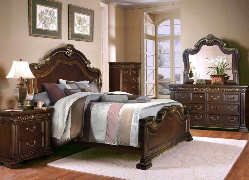 McFerran Home Furnishings - B538 6 Piece California King Bedroom Set in Brown - B538-CK-6SET