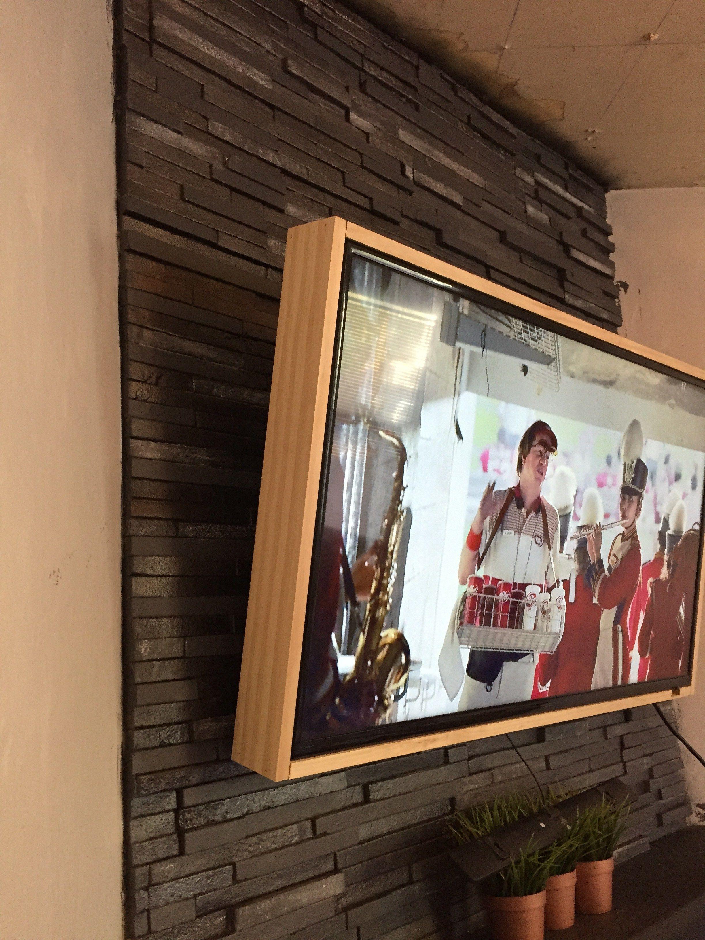 Diy 40 wood tv frame works for tvs that tilt and rotate