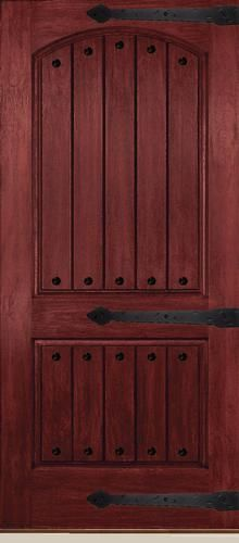 Mastercraft® Prefinished Red Mahogany Minwax #225 Wood Grain Fiberglass  Plank Arch 2 Panel Exterior Door Slab   Right Side Deco Hinges (outside  View) ...
