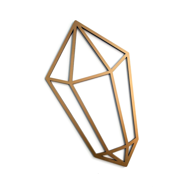 Geometric crystal wall art gem wooden wall hanging jewel