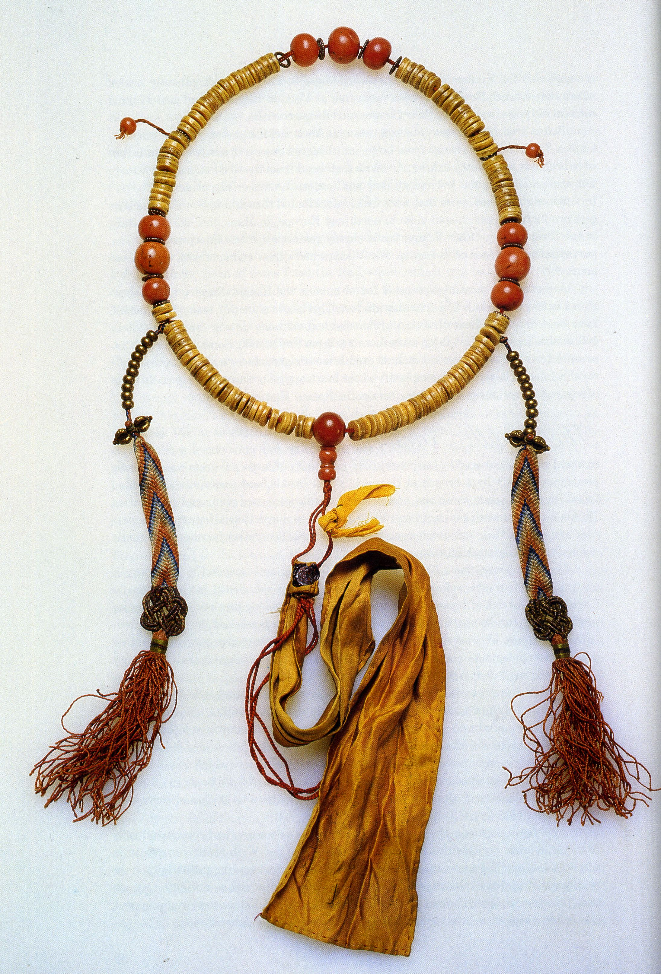 Very Old Tibetan Buddhist mala made from lama bones, coral spacer beads, silk & metal counters-for wrathful practices only. Tibet.
