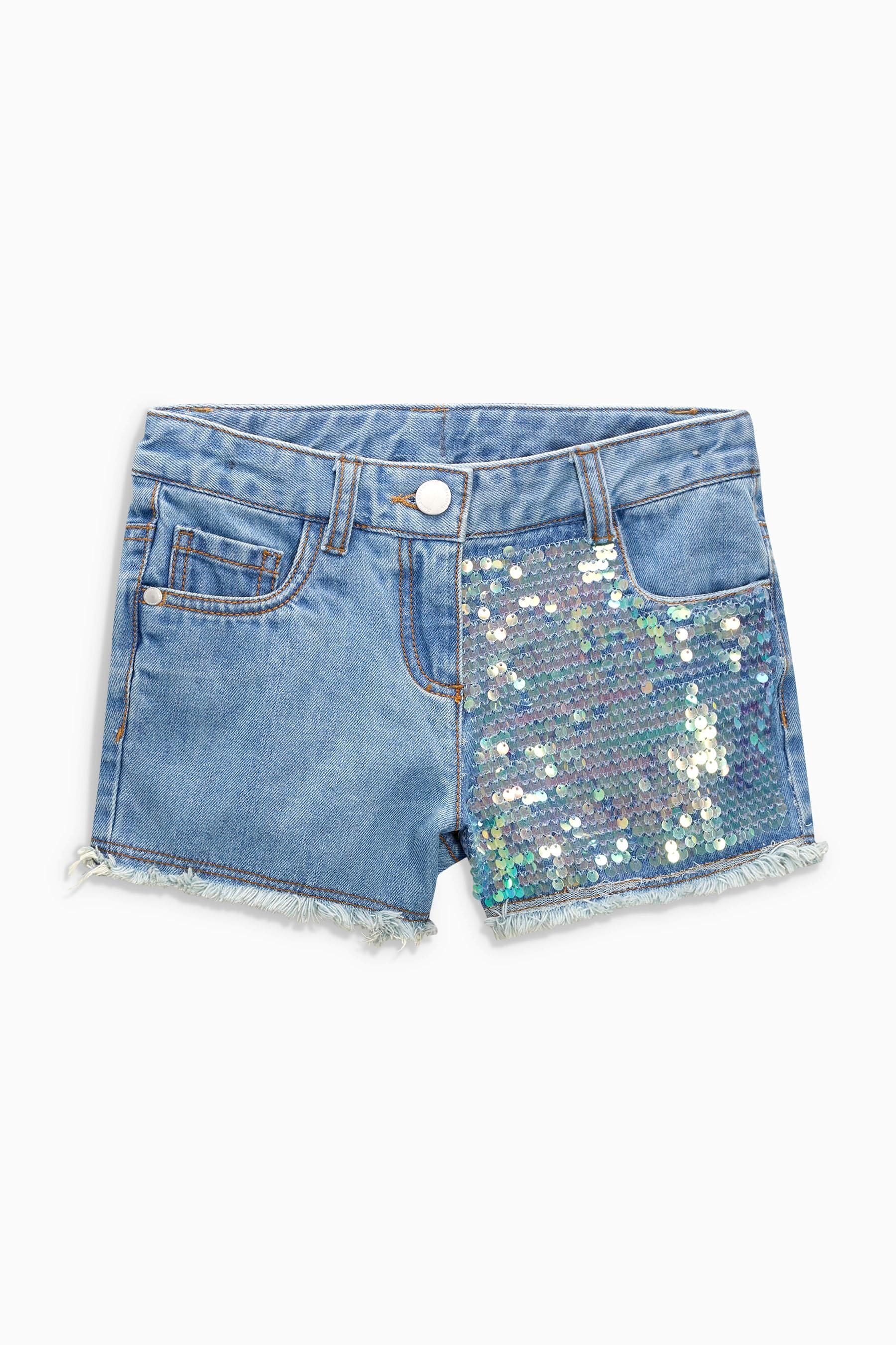 Buy Light Blue Sequin Denim Shorts (3 16yrs) from the Next