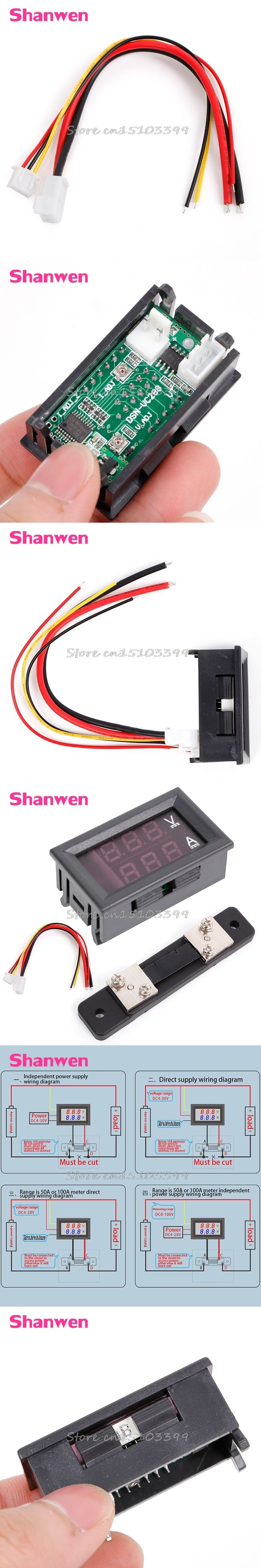 Digital Volt Amp Meter Wiring Diagram Library Ammeter Circuit 0 100v 50a Red Blue Voltmeter 2in1 Dc W