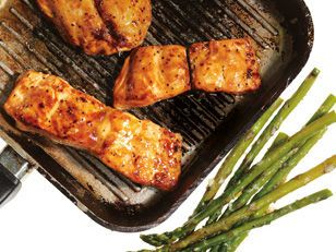Honey mustard salmon with roasted asparagus recipe mens health honey mustard salmon with roasted asparagus recipe mens health magazine yahoo7 forumfinder Choice Image