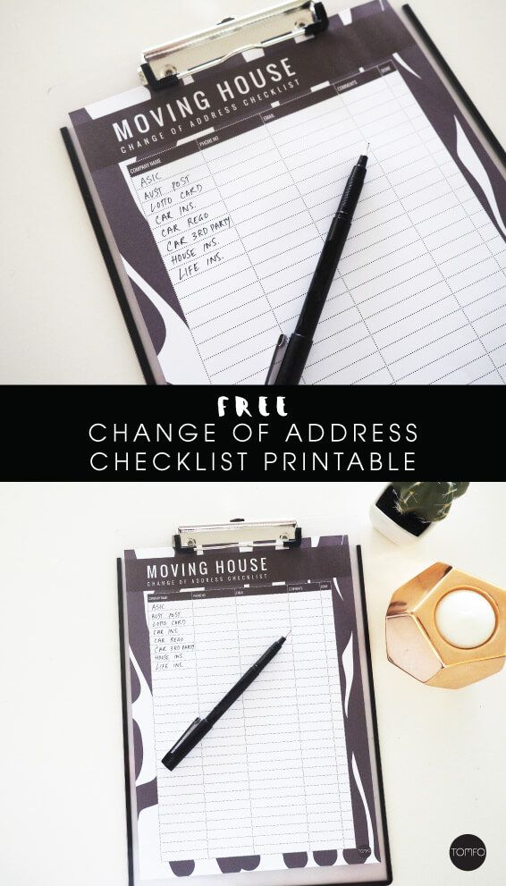 Free Moving House Change of Address checklist printable TOMFO - free change address