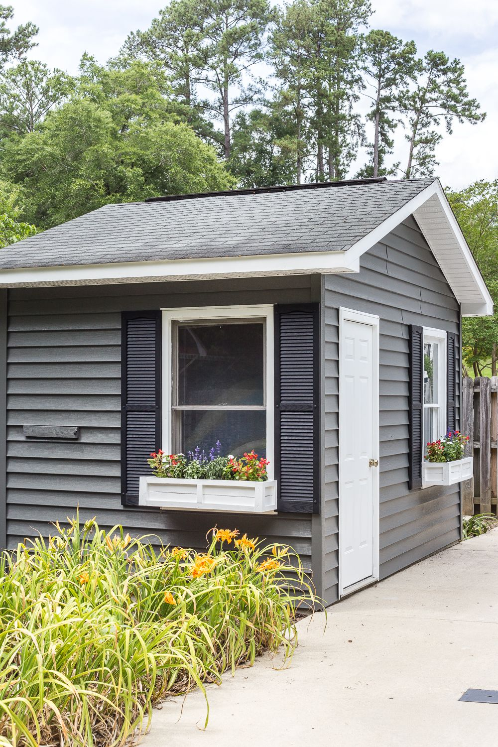 How To Paint Vinyl Siding Pool Shed Makeover Bless Er House Pool Shed Shed Makeover Vinyl Siding
