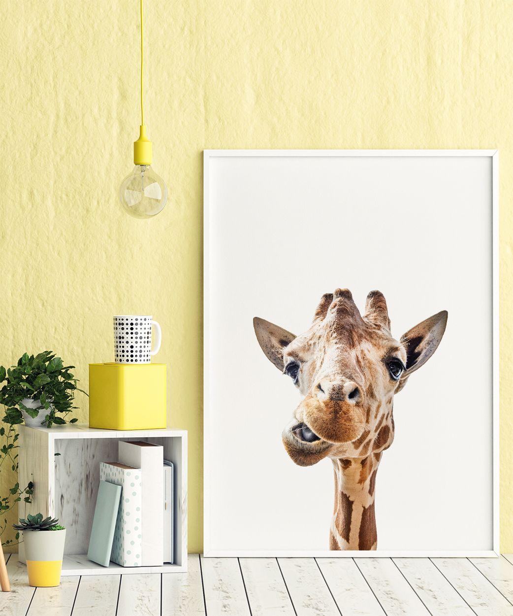 Funny Giraffe Portrait Art Print, Cute Animals, Safari Animal ...