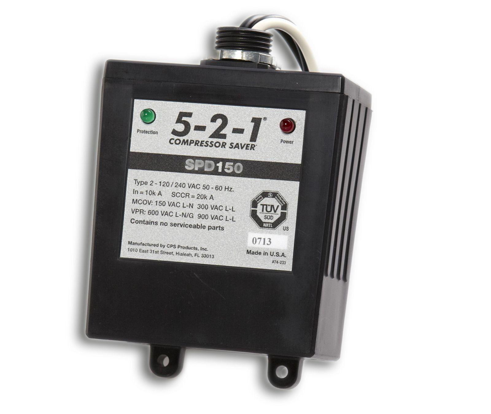 Cps Products Spd150 5 2 1 Compressor Saver 120 240 Volt Single Phase 50 Or 60 Hz 100k Maximum Surge Current Flask
