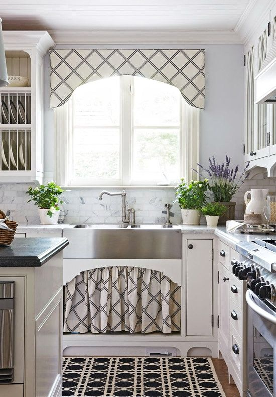 A Valence And Sink Skirt Sport The Same Graphic Pattern In This Prepossessing Designer Kitchen Curtains Design Inspiration