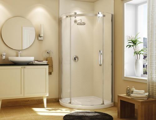 Maax Olympia 40 Round Shower Base And Door Kit Right Opening Corner Shower Corner Shower Kits Bathroom Design