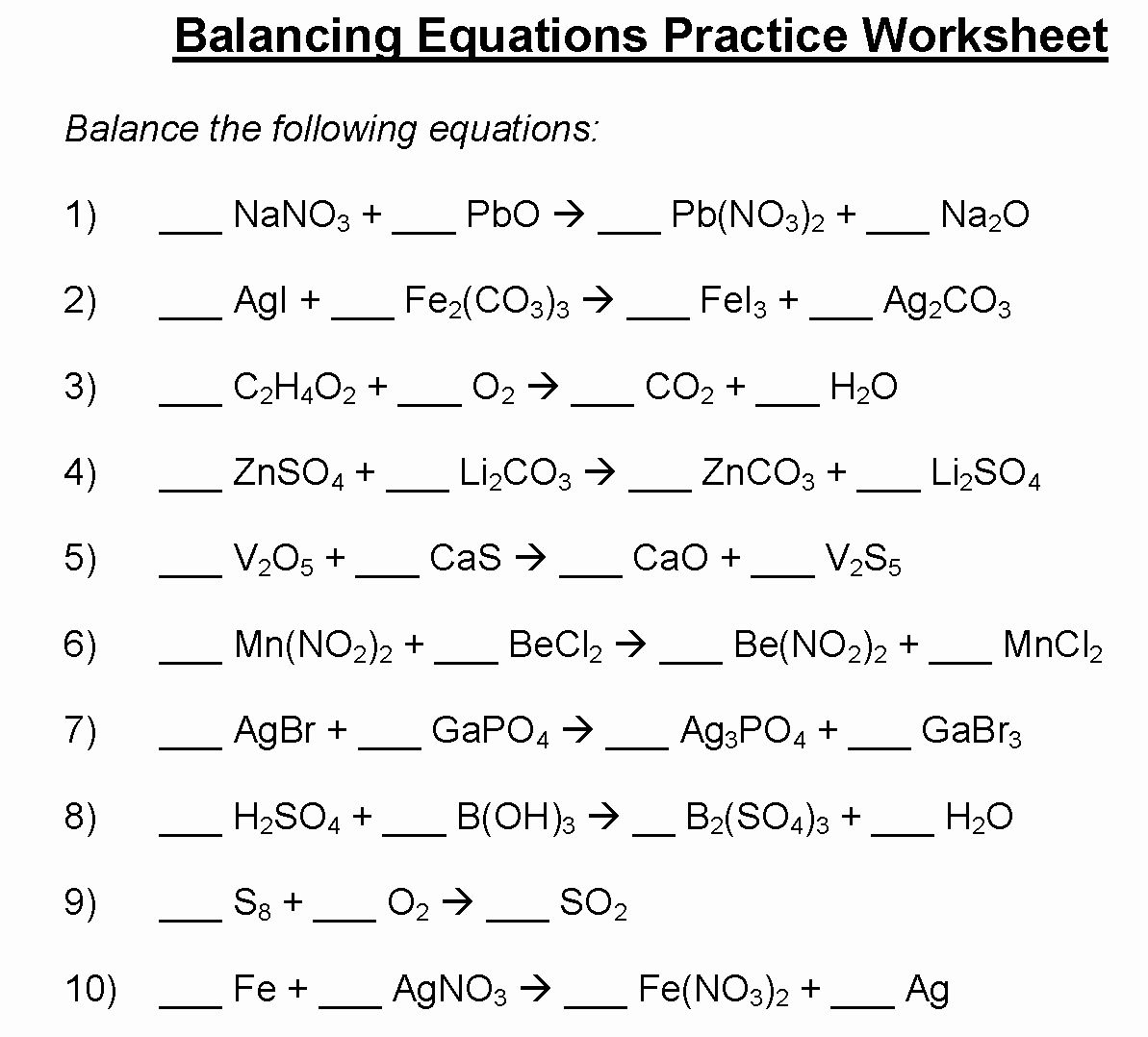 49 Balancing Equations Practice Worksheet Answers In