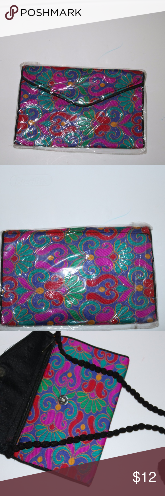 2d98c9ba7a2726 FREE FLORAL CLUTCH   PURSE WITH ANY PURCHASE ITEM IS A BRAND NEW FLORAL  CLUTCH  PURSE WITH ROPED SHOULDER STRAPS UNBRANDED Bags Clutches   Wristlets