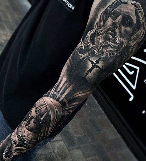 f09730860 Full Arm Sleeve Religious Themed Guys 3d Jesus Tattoo Designs  #UltraCoolTattoos