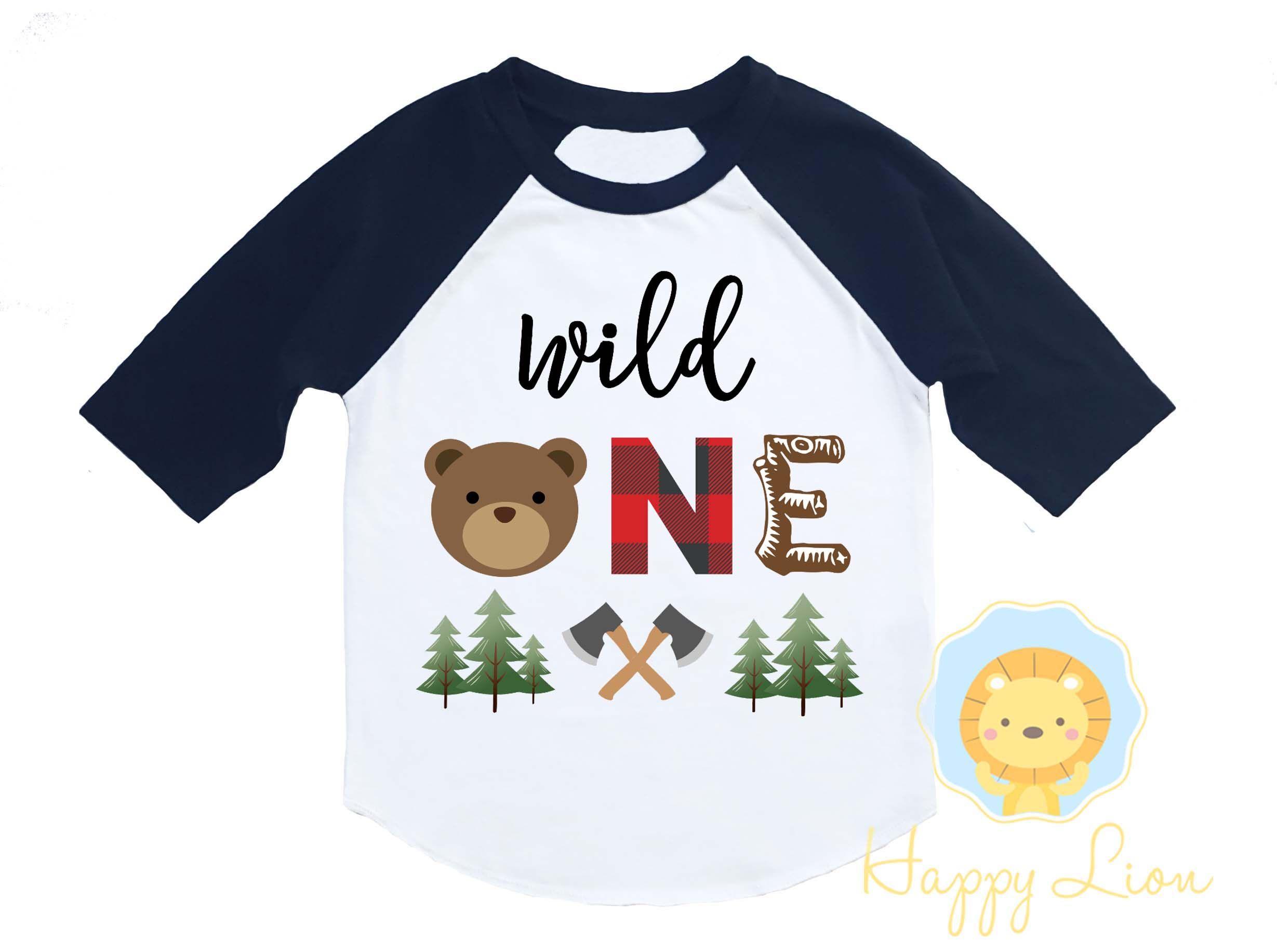 Wild One Lumberjack Buffalo Plaid First 1st Birthday Shirt for Baby Boy #babyboy1stbirthdayparty