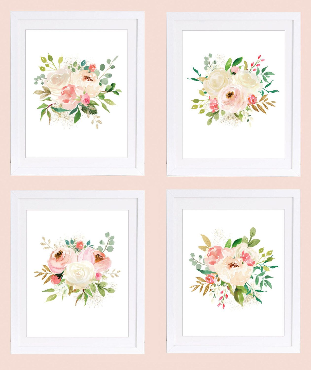 Set Of 4 Prints Floral Nursery Wall Art 11x14 Inches Rose