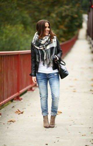 leather-jacket-with-plaid-black-and-white-scarf- How to rock the plaid blanket scarf http://www.justtrendygirls.com/how-to-rock-the-plaid-blanket-scarf/
