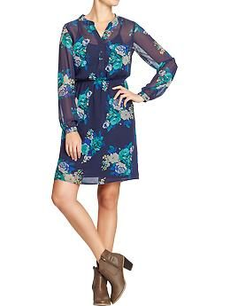 Women's Floral-Print Chiffon Dresses | Old Navy so cute!
