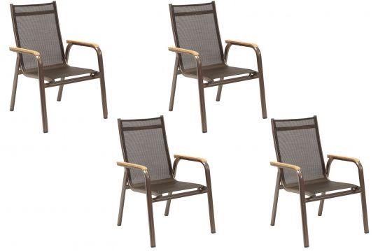 4er set kettler stapelsessel granada bronze mocca 0301202 2100 gartenm bel outdoor decor. Black Bedroom Furniture Sets. Home Design Ideas