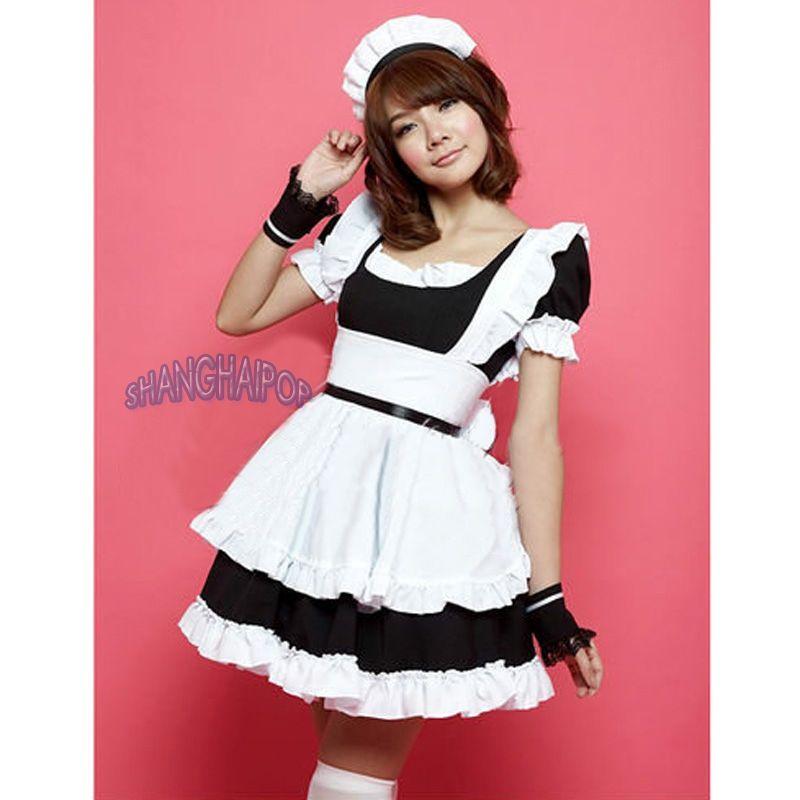 Ladies Girl Costume Waitress Cosplay Maid Ruffle Lolita Gothic Fancy Dress