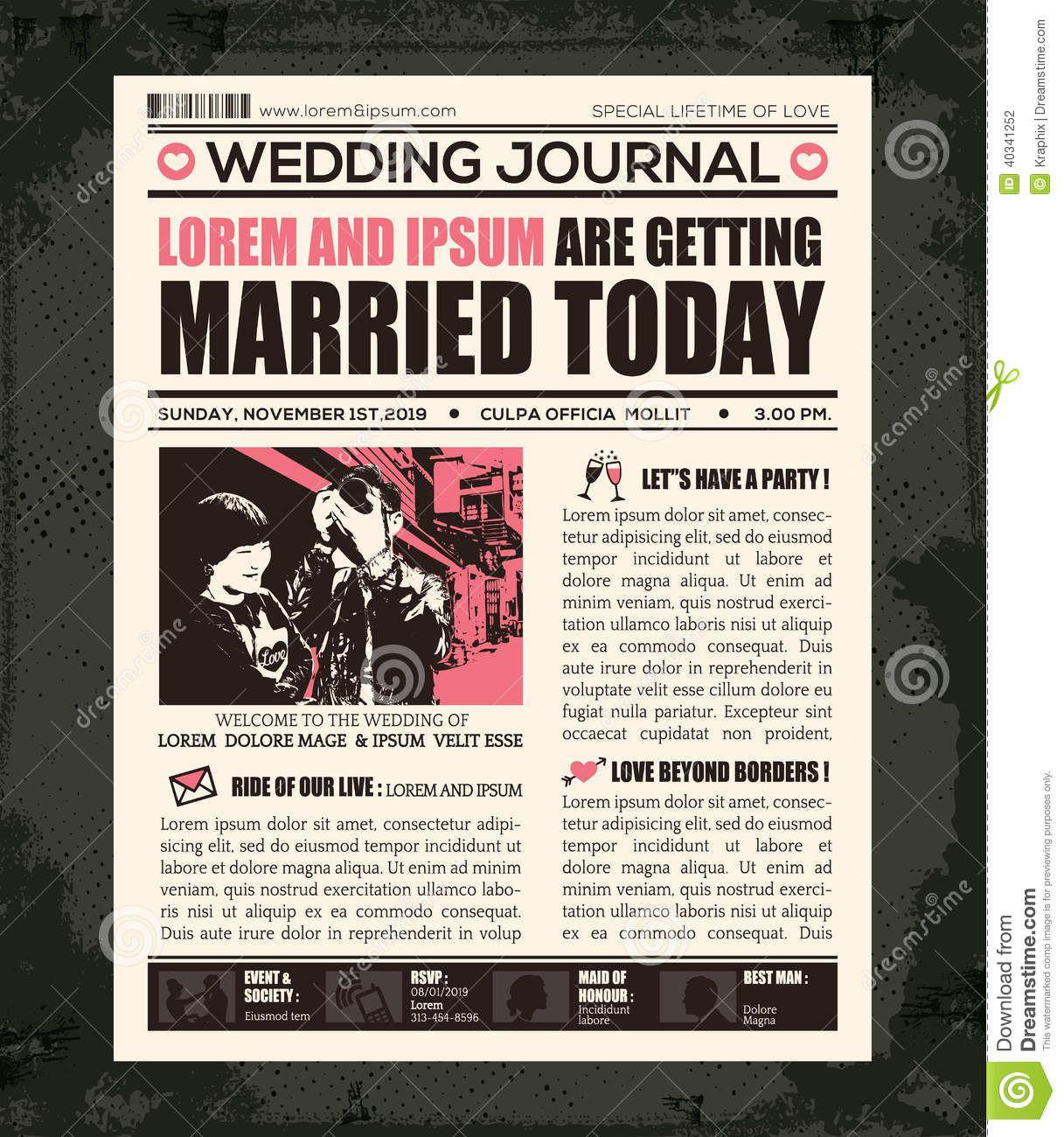 vintage wedding card design template%0A Newspaper Wedding Invitation Design Template Stock Vector  Image