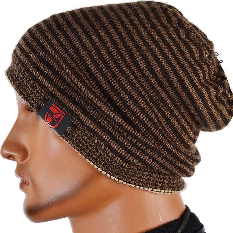 Men Reversible Slouchy Beanie Hat Unisex Skull Hat - Beige - CH11HGNY74B -  Hats   Caps 16e9f20c8c4