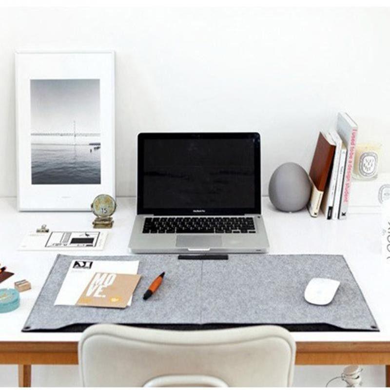 Office Desk MatMouse PadPen HolderWool Laptop Cushion Desk Mat