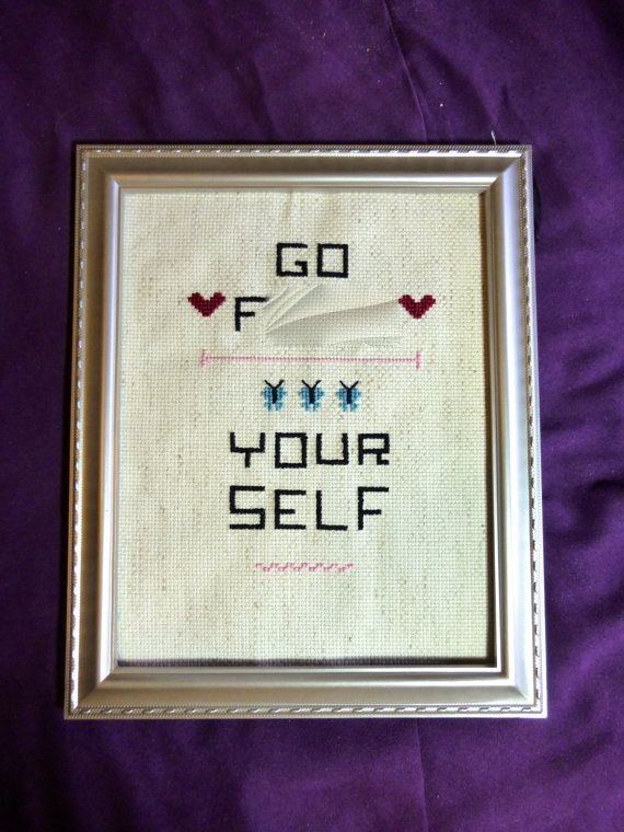 Go F Yourself Cross Stitch in Frame by Inappropristitch on Etsy