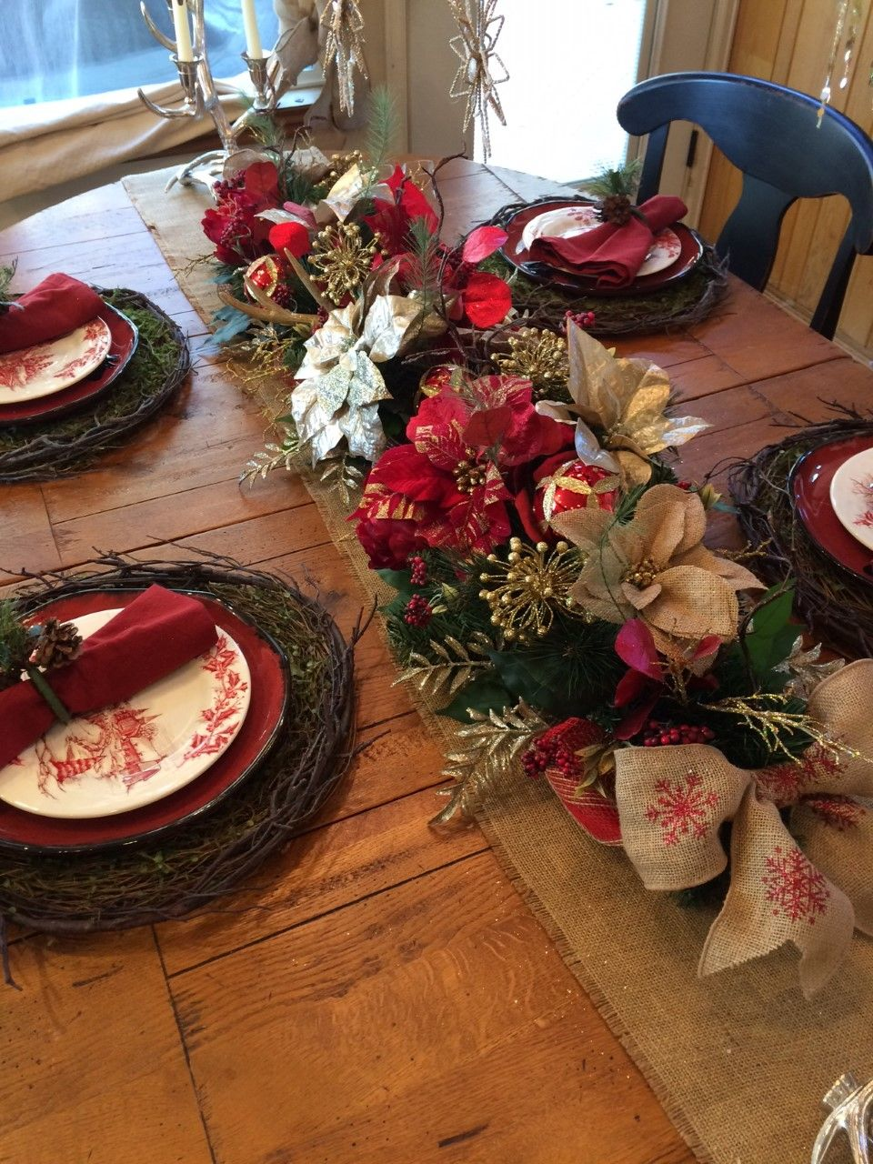 Christmas 2018 Lush 50 Poinsettia Table Garland In Champagne Red Gold Silver And Burlap Red Christmas Wreath Christmas Centerpieces Christmas Tablescapes