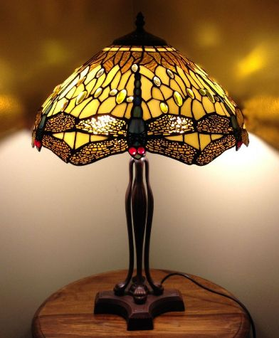 Benita 18inch Dragonfly Tiffany Lights Table Lamp Height 26 Inch 65cm Diameter 18 45cm Max Wattage 2 X 60w Material Of Shade Gl Bulb Ing