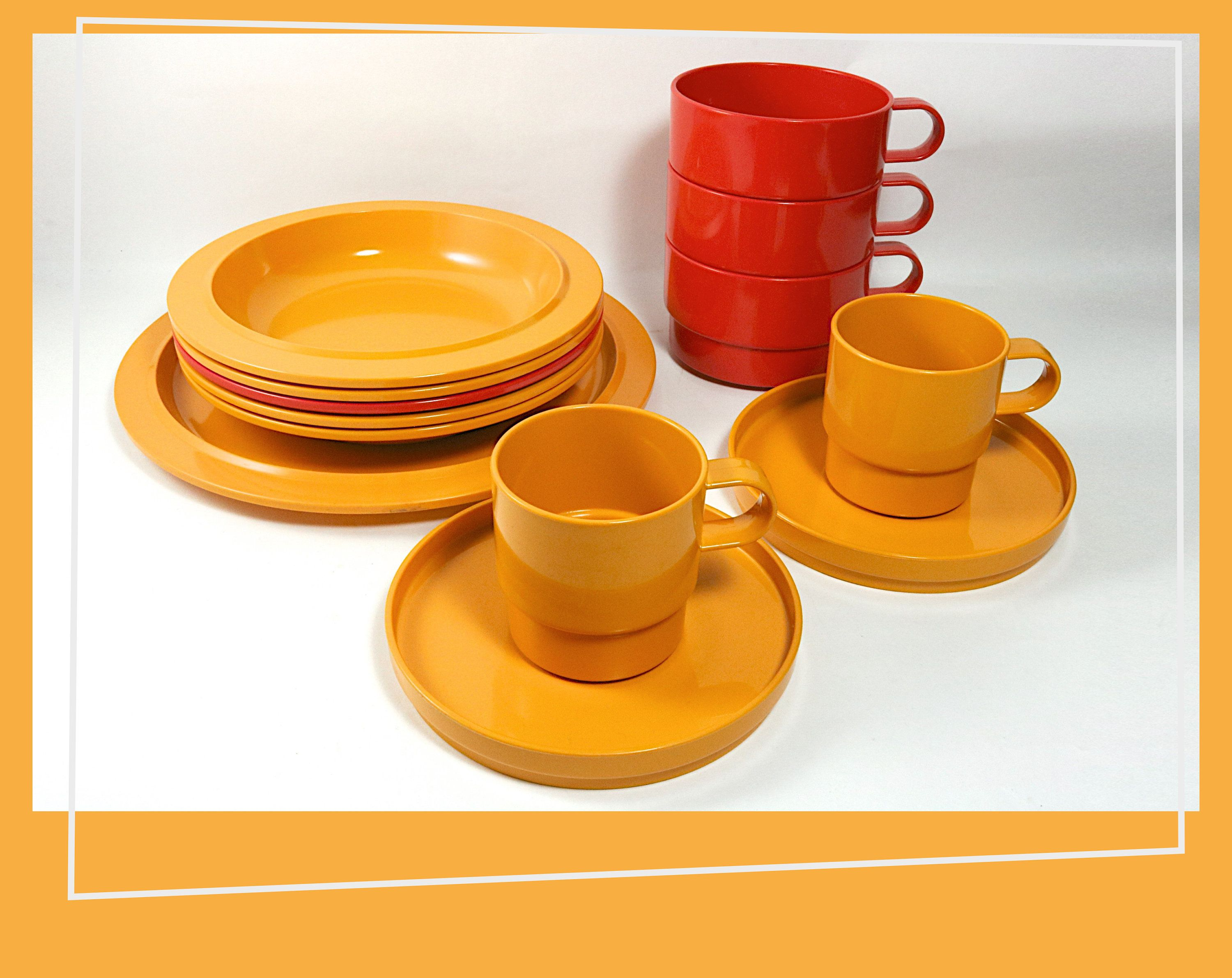 12 Piece Camping Set Rosti Mepal Soup Bowls Cups Saucers And