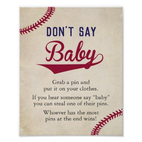 Baseball Themed Baby Shower Dont Say Baby Sign | Zazzle.com