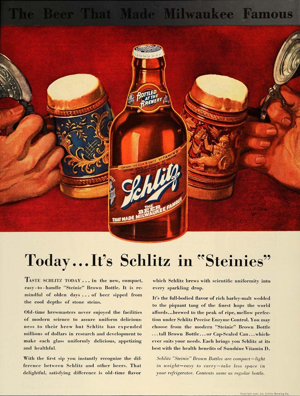 1937 Ad Schlitz Steinies Beer Milwaukee Brown Bottles