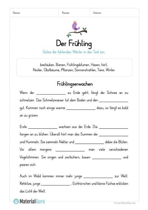 arbeitsblatt l ckentext zum fr hling drucken deutsche schule arbeitsbl tter und. Black Bedroom Furniture Sets. Home Design Ideas