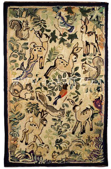 Antique Hooked Rug Woodland Animals